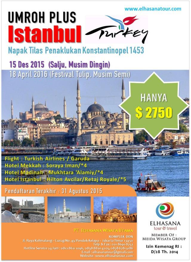 Umroh Turkey 12 Hari Elhasana Tour